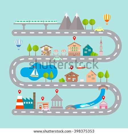 Vector illustration of navigation infographic concept. City navigation map with building. City countryside lake mountain gas station restaurant bridge hotel route pin markers.  - stock vector