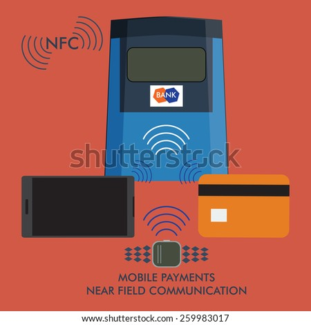 vector illustration of near field communication. mobile payments using pay pass, mobile phone and smartwatch - stock vector