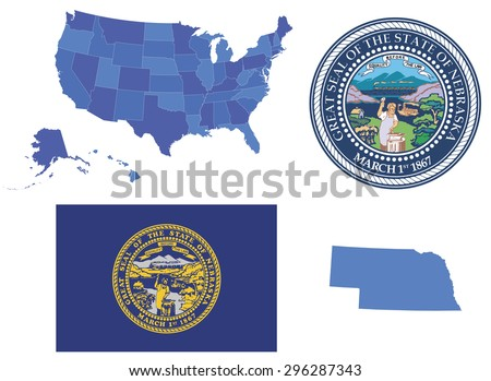 Vector Illustration of Nebraska state, contains: High detailed map od USA High detailed flag of state Nebraska High detailed great seal of state Nebraska State Nebraska,shape - stock vector