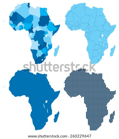 Vector illustration of NEW 2011 four different blue maps of Africa. Also included new country the Republic of South Sudan which became an independent state on 9 July 2011. Global colors used - stock vector