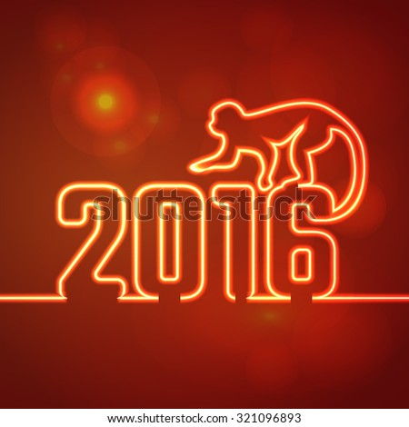 Vector Illustration of 2016 new year Outline neon light BAckground for Design, Website, Banner. Holiday party Element Template. Chinese horoscope Monkey silhouette - stock vector
