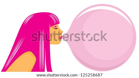 Vector illustration of nice girl inflating a bubble from a chewing gum. - stock vector
