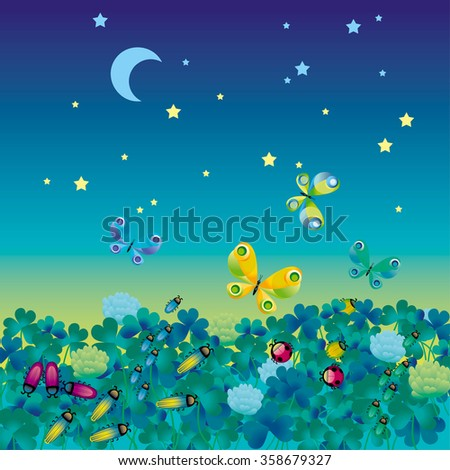 vector illustration of night medow with bugs - stock vector