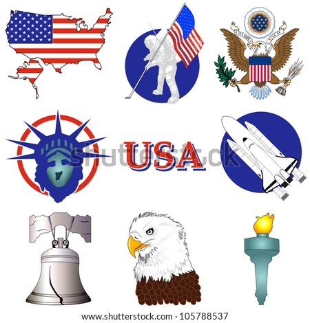 Vector Illustration of nine American History Icons. - stock vector