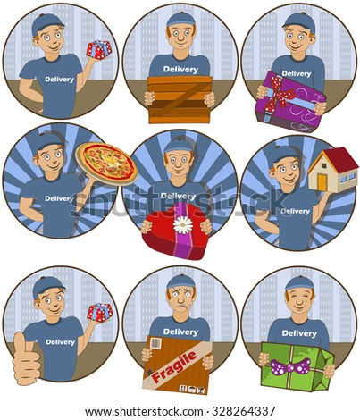 Vector illustration of nine different delivery  funny stickers - face expressions. - stock vector