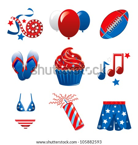 Vector Illustration of nine icons for the 4th of July Independence Celebration. - stock vector