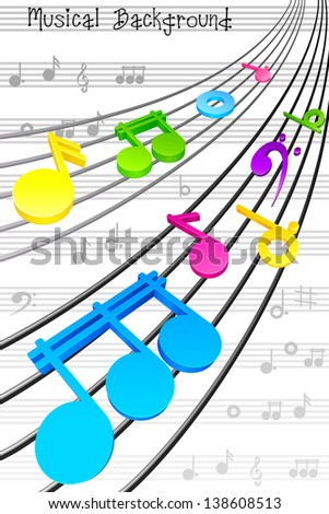 vector illustration of notes on string in musical background - stock vector