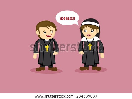 Vector illustration of nun saying God Bless to a Priest in cute cartoon style  - stock vector