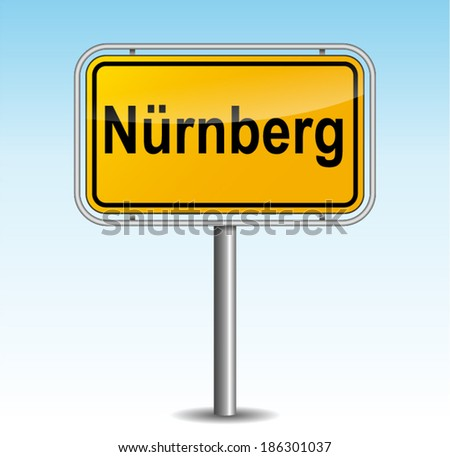 Vector illustration of nuremberg signpost on sky background - stock vector