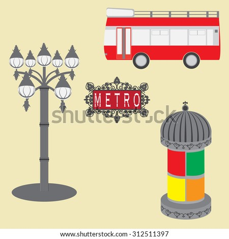 Vector illustration of objects in Paris - stock vector
