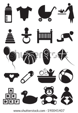 Vector illustration of objects related to baby and parenting. Black and white icon set. - stock vector