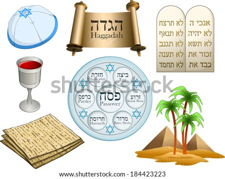 Vector illustration of objects related to the Jewish holiday Passover. Hebrew on top-right are the Ten Commandments. The rest of the Hebrew text has English translation.  - stock vector
