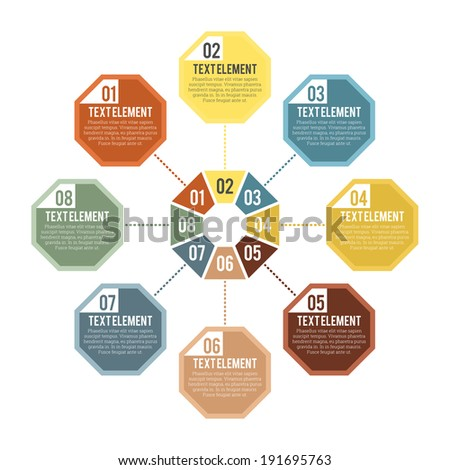 Vector illustration of octagon part infographic. - stock vector