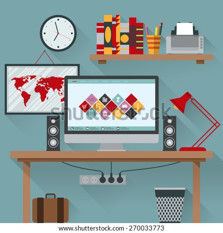 Vector illustration of office has a computer - stock vector