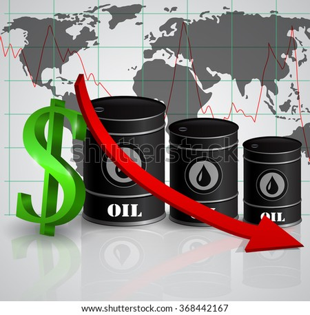 Vector illustration of oil barrel with red arrow  - stock vector