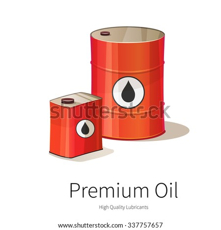 Vector illustration of oil canister and barrel. Gas and petroleum. Chemical. Isolated on white background. - stock vector
