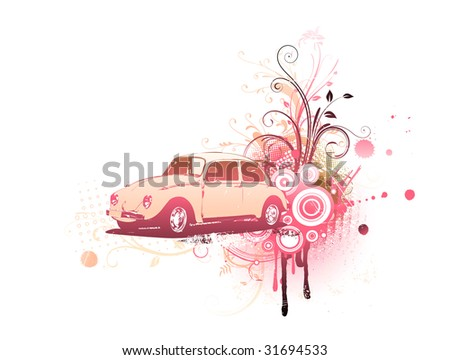 Vector illustration of old custom Volkswagen Beatle on the Grunge Floral Decorative background - stock vector