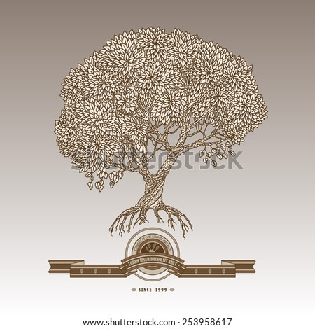 Vector illustration of old hand drawn tree, ribbon and label. Brown and beige colors, gradient background, retro style. - stock vector