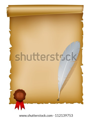 Vector illustration of old paper sheet with feather and seal wax stamp. EPS 10 with mesh. - stock vector