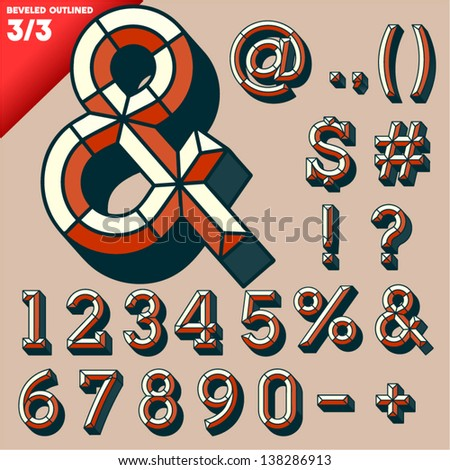 Vector illustration of old school beveled alphabet. Outlined version. Symbols - stock vector