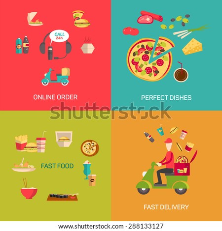 Vector illustration of online food shopping. - stock vector