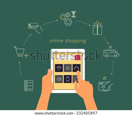 Vector illustration of online shopping with realistic computer and contour icons - stock vector