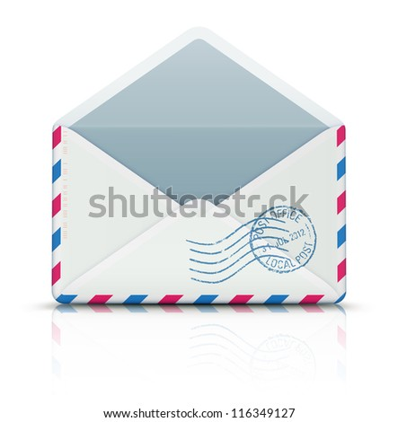 Vector illustration of open blank airmail envelope with rubber stamp - stock vector