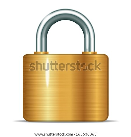 Vector illustration of open realistic padlocks gold - stock vector