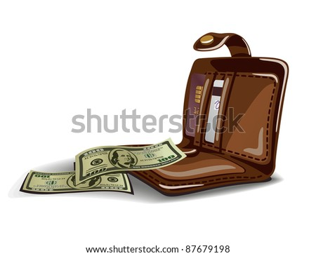 Vector illustration of open wallet with dollars and credit cards - stock vector