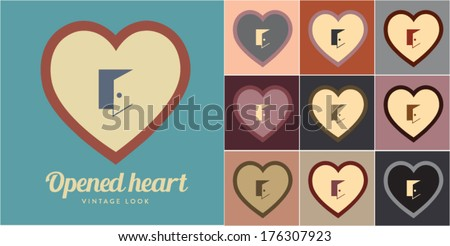 Vector illustration of opened heart. Retro, vintage look. - stock vector