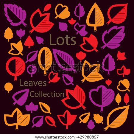 Vector illustration of orange and red tree leaves isolated on white background. Set of simple drawn nature design elements, graphic symbols made in ecology theme. - stock vector