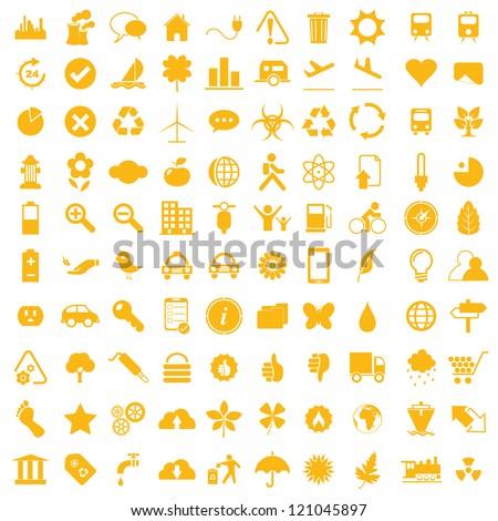 Vector illustration of orange eco icons. - stock vector