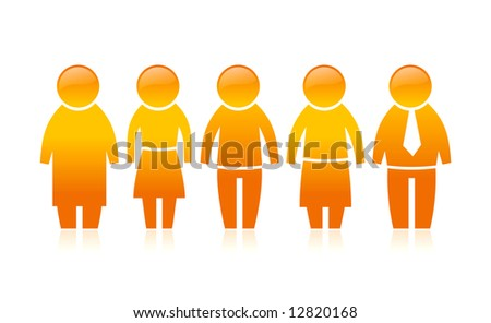 Vector illustration of orange people chain - stock vector