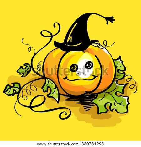 Vector illustration of orange pumpkin in witch hat with curved stem and green leaves on yellow background for Halloween invitation and card. - stock vector