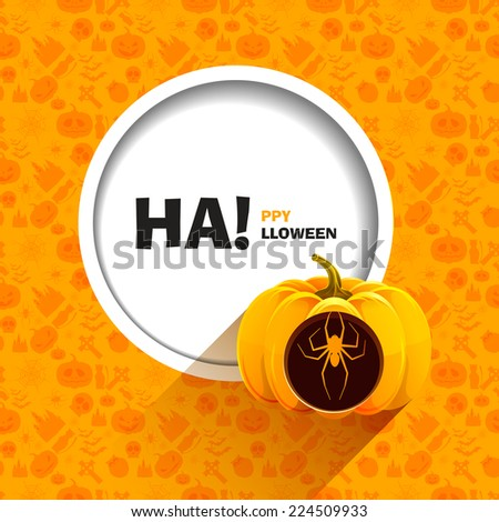 Vector illustration of orange seamless patterns for a happy Halloween party. Spider carved on a pumpkin for Halloween. Use for brochures, printed materials, banner, greeting, card. - stock vector