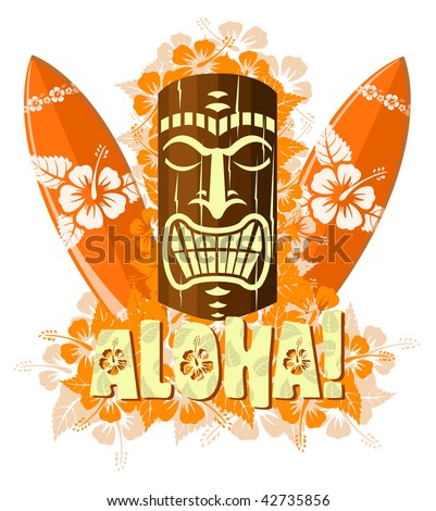 Vector illustration of orange tiki mask with surf boards, and hand drawn text Aloha - stock vector