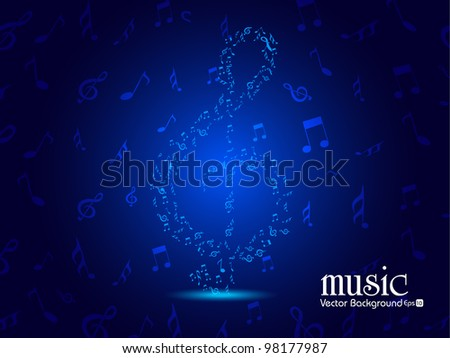 Vector illustration of ornament form of Musical note, Music or Party background in blue color, can be used as flyer or banner for party or events. EPS 10 Vector Illustration. - stock vector