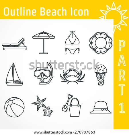 Vector Illustration of Outline Beach Icon for Design, Website, Background, Banner. Tourism Infographic Silhouette Element. Travel Sun and Sea Resort Template. Bikini, Ice-cream, scuba mask, ship - stock vector