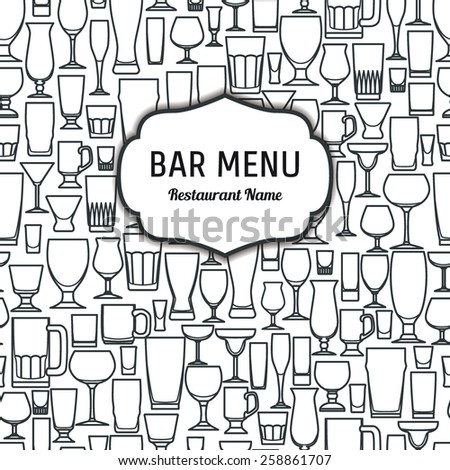 Vector Illustration of Outline silhouette Set of Bar Glass  for Design, Website, Background, Banner. Restaurant Element Isolated Template for Menu. Vodka, Beer, Whiskey, Wine - stock vector