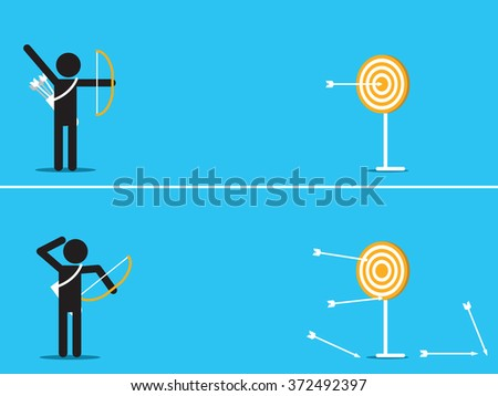 Vector illustration of outstanding man can hit target at center of dart by single arrow, contrast to another man with arrow missing the target.   - stock vector