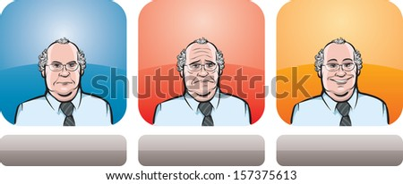 Vector illustration of overweight man face in three expressions: neutral, sad and happy - head and shoulders composition. Layered vector EPS10 format file. - stock vector