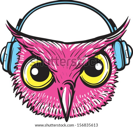 Vector illustration of owl with headphones. Easy-edit layered vector EPS10 file scalable to any size without quality loss. High resolution raster JPG file is included.  - stock vector