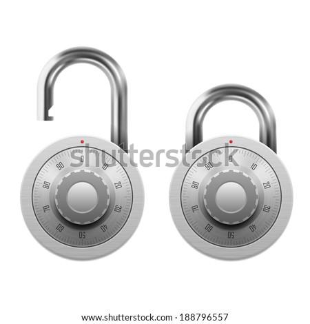 Vector illustration of padlock with combination lock wheel - stock vector