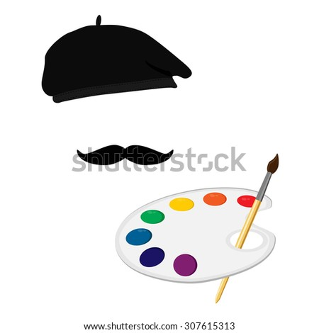 Vector illustration of painter in painter hat with mustache and holding paint palette and paintbrush. Painter icon. Painting symbol - stock vector