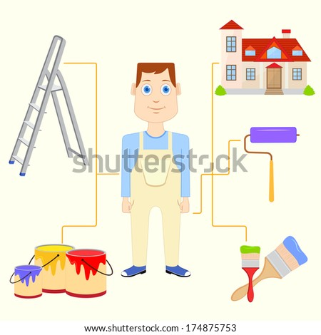 vector illustration of painter with equipment - stock vector