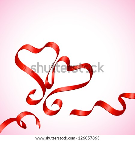 vector illustration of pair of heart made of ribbon - stock vector