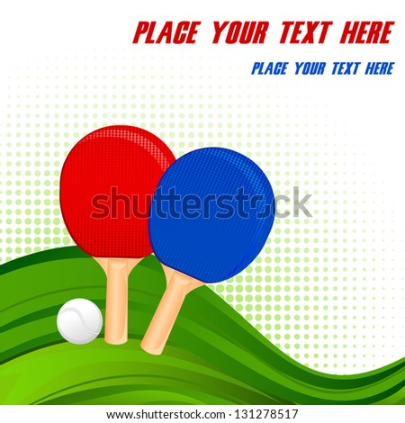 vector illustration of pair of ping-pong rackets and ball - stock vector