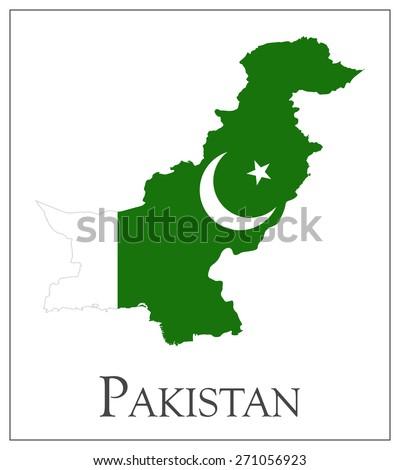 Vector illustration of Pakistan flag map - stock vector