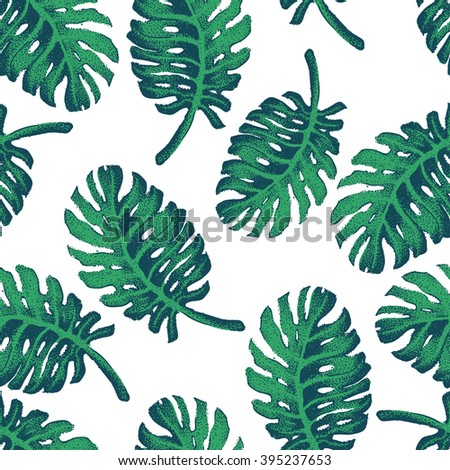 Vector Illustration of Palm Tree Sketch for Design, Website, Background, Banner. Hand Drawing Floral on Beach. Travel and Vacation Ink Element Template. Seamless Pattern Wallpaper - stock vector