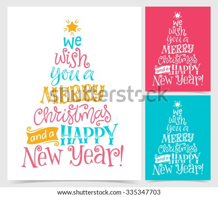 Vector illustration of paper cards with holidays lettering and ornate elements. Merry Christmas and Happy New Year text for invitation and greeting card, prints and posters. Hand drawn vintage design - stock vector